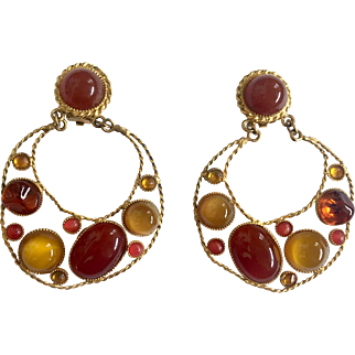 Gripoix Style Faux Carnelian & Tiger's Eye Shoulder Duster Earrings, Rare Sonia Italy