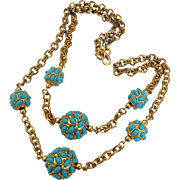 Kenneth Lane (KJL) 1980s Faux Turquoise Ball and Gilt Chain Necklace