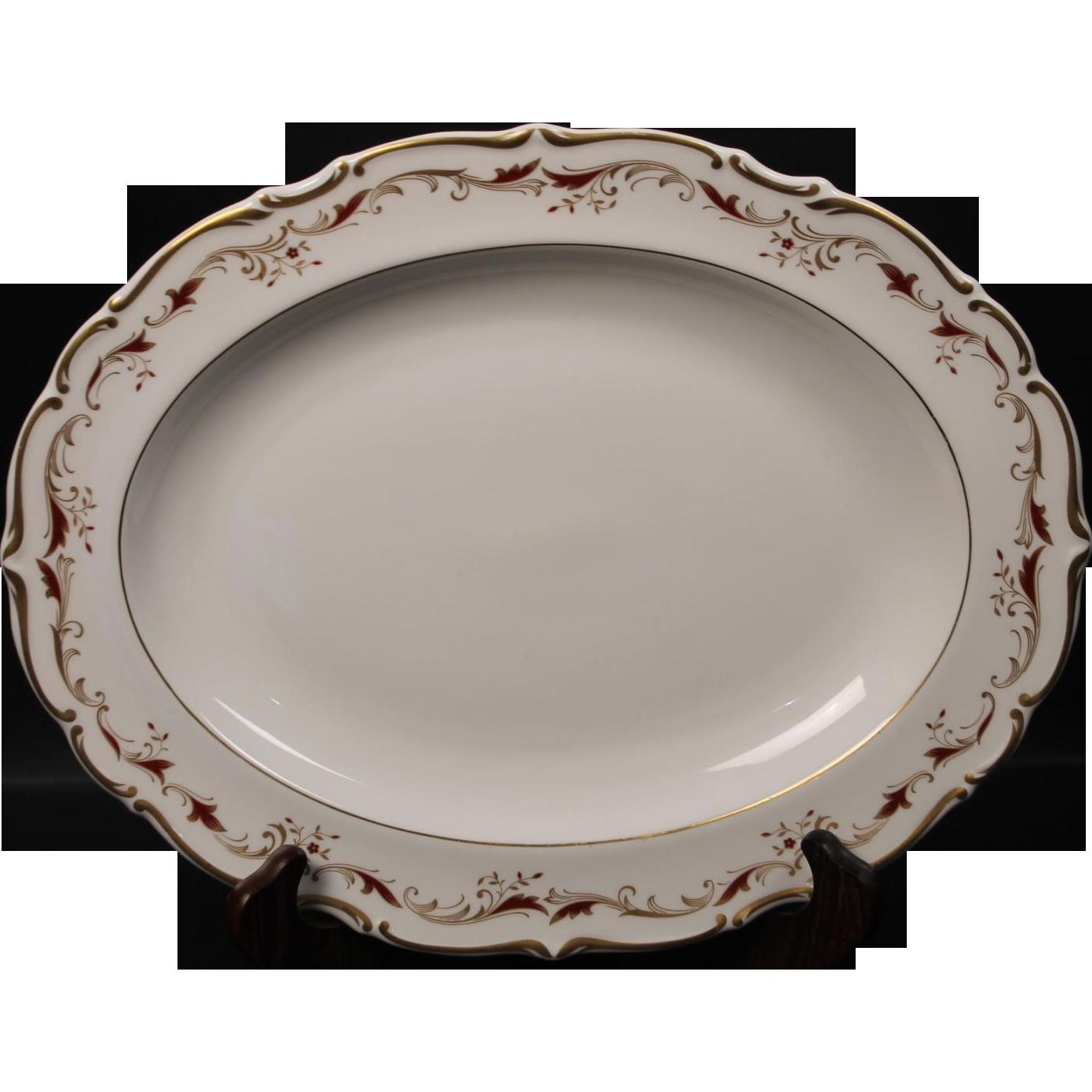 Royal Doulton Bone China Oval Serving Platter in the Strasbourg Pattern.  Measures 13 5/8''.