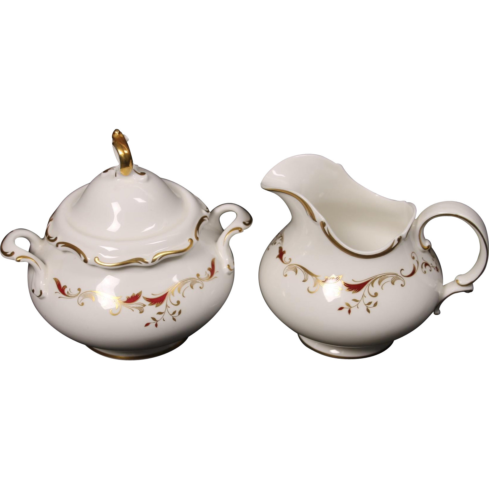Royal Doulton Bone China Creamer and Covered Sugar (lid cracked) in the Strasbourg Pattern