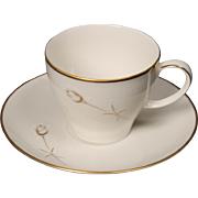 Noritake ''Nora'' Cup and Saucer Set - White with Gold Rose and Trim.  2 3/4''.