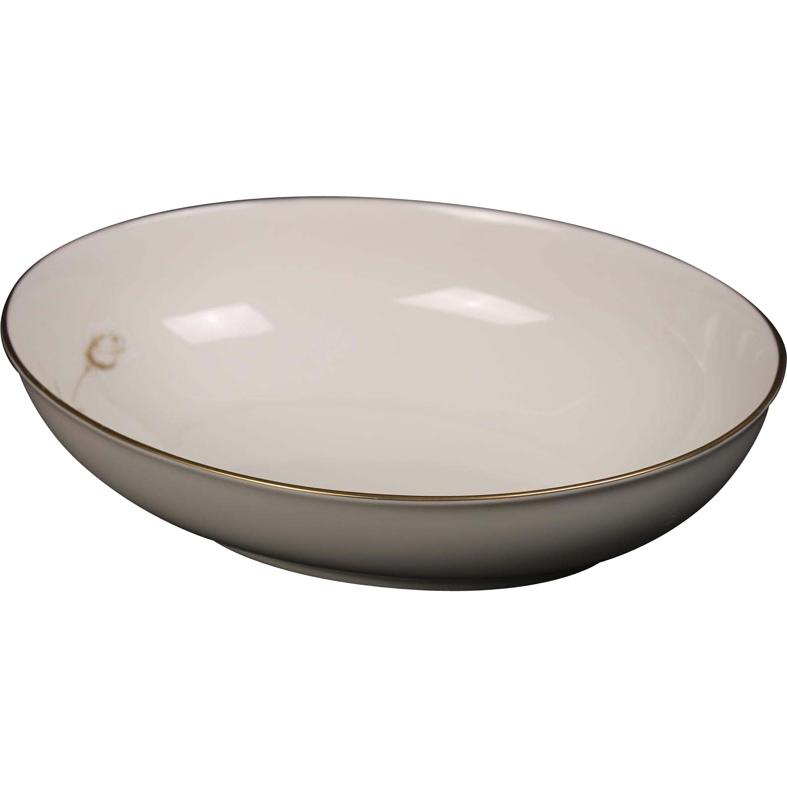 Noritake ''Nora'' Oval Vegetable Bowl - White with Gold Rose and Trim.  9 5/8''.