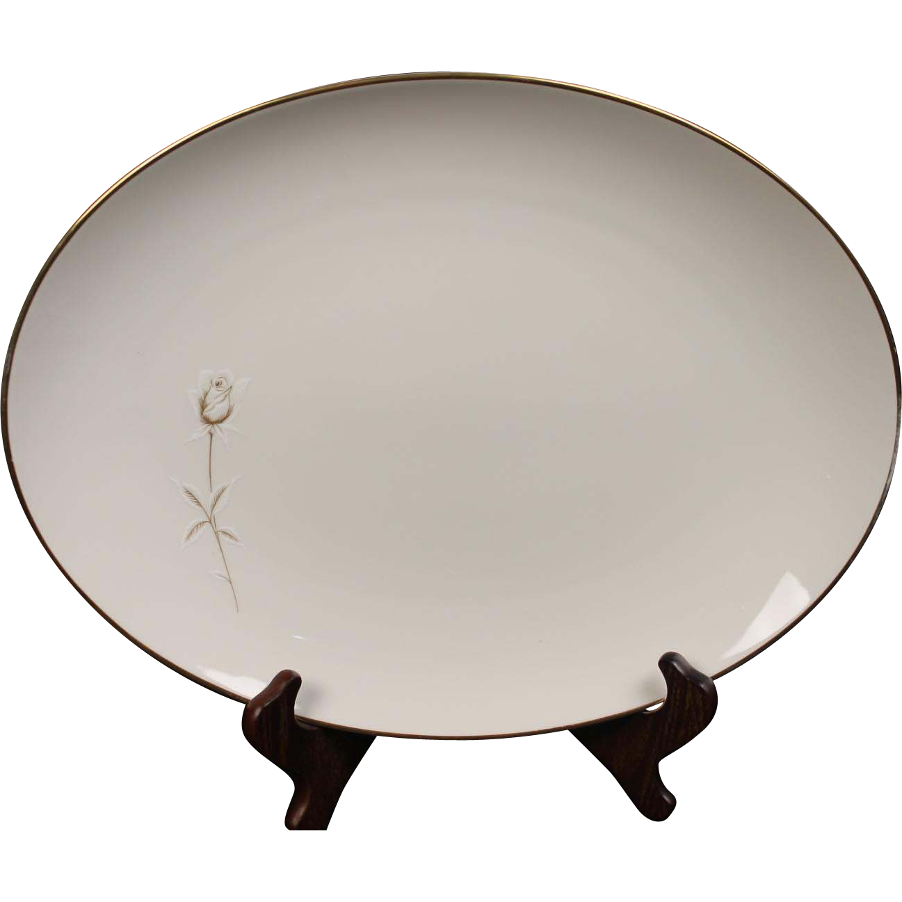 Noritake ''Nora'' Oval Serving Platter - White with Gold Rose and Trim.  15''.
