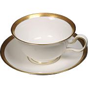 Wedgwood ''Senator'' Cup and Saucer with Peony Handle
