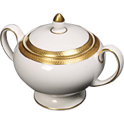 Wedgwood ''Senator'' Leigh shaped Lidded Sugar with a beautiful gold encrusted laurel band.  3-1/4''