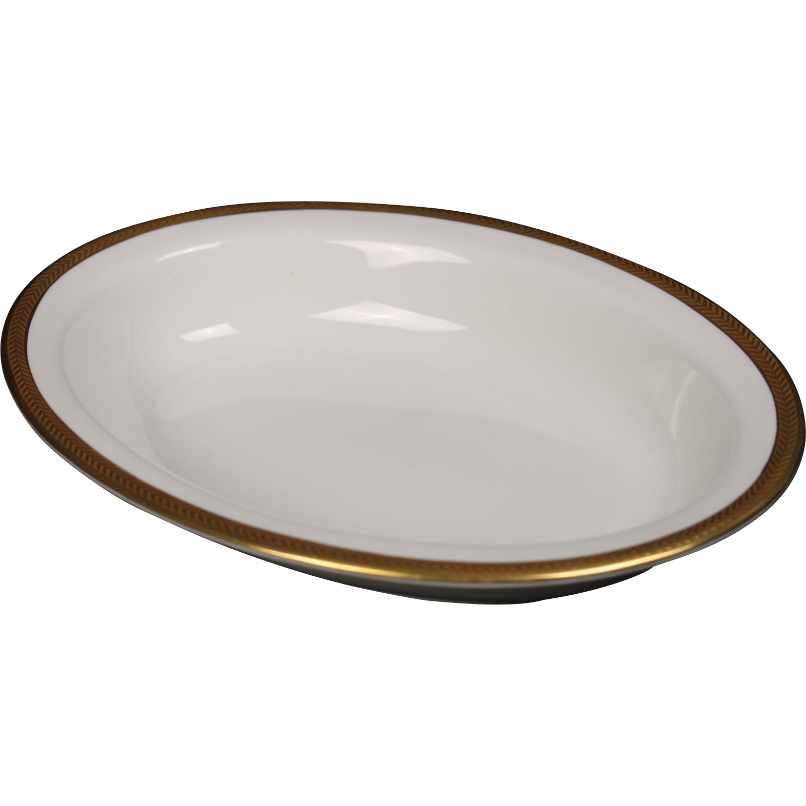 Wedgwood ''Senator'' Oval Vegetable Bowl with a beautiful gold encrusted laurel band.  10''