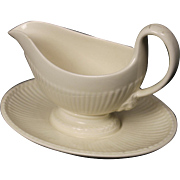 Wedgwood ''Edme'' Gravy Boat with attached Underplate.  9''