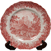 J&G Meakin Romantic England Red ''Haddon Hall'' Dinner Plate