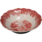 J&G Meakin Romantic England Red ''Chequers'' Coupe Cereal Bowl