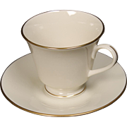 Lenox ''Hayworth'' Footed Cup and Saucer Set.  Cup is 3-1/8'' tall.