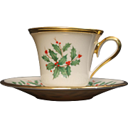 Lenox Dimension ''Holiday'' Footed Cup and Saucer Set.  Cup is 3'' tall.