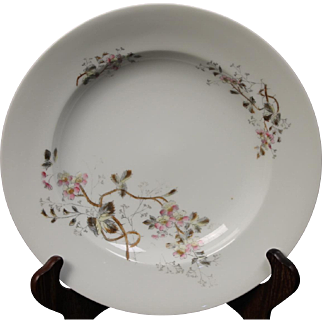 Beautiful Floral Oscar Gutherz Limoges Large Rimmed Soup Bowl.  9-3/8''Circa 1884-1898 and Pattern Unknown.