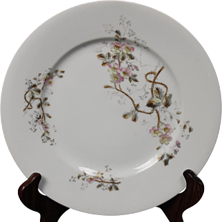 Beautiful Floral Oscar Gutherz Limoges Dinner Plate.  9-1/2'', Circa 1884-1898 and Pattern Unknown.