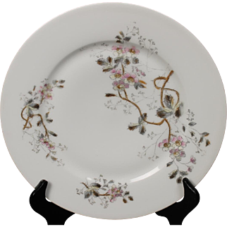 Beautiful Floral Oscar Gutherz Limoges Salad Plate.  8-3/8'', Circa 1884-1898 and Pattern Unknown.