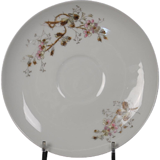 Beautiful Floral Oscar Gutherz Limoges Saucer.  6'', Circa 1884-1898 and Pattern Unknown.