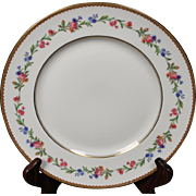 Beautiful French Limoges Dinner Plate from Raynaud & Co.  Mixed Floral Pattern with Gold Trim.  10-1/4''
