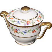 Beautiful French Limoges Lidded Sugar Bowl from Raynaud & Co.  Mixed Floral Pattern with Gold Trim.