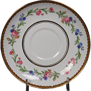 Beautiful French Limoges Saucer from Raynaud & Co.  Mixed Floral Pattern with Gold Trim.