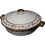 Beautiful French Limoges Lidded Serving Bowl from Raynaud & Co.  Mixed Floral Pattern with Gold Trim.