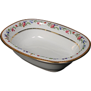 Beautiful French Limoges Oval Serving Bowl from Raynaud & Co.  Mixed Floral Pattern with Gold Trim.  9-1/2''  and appears to be unused