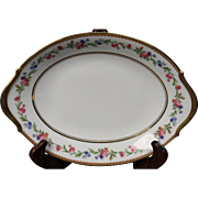 Beautiful French Limoges Oval Serving Platter from Raynaud & Co.  Mixed Floral Pattern with Gold Trim.