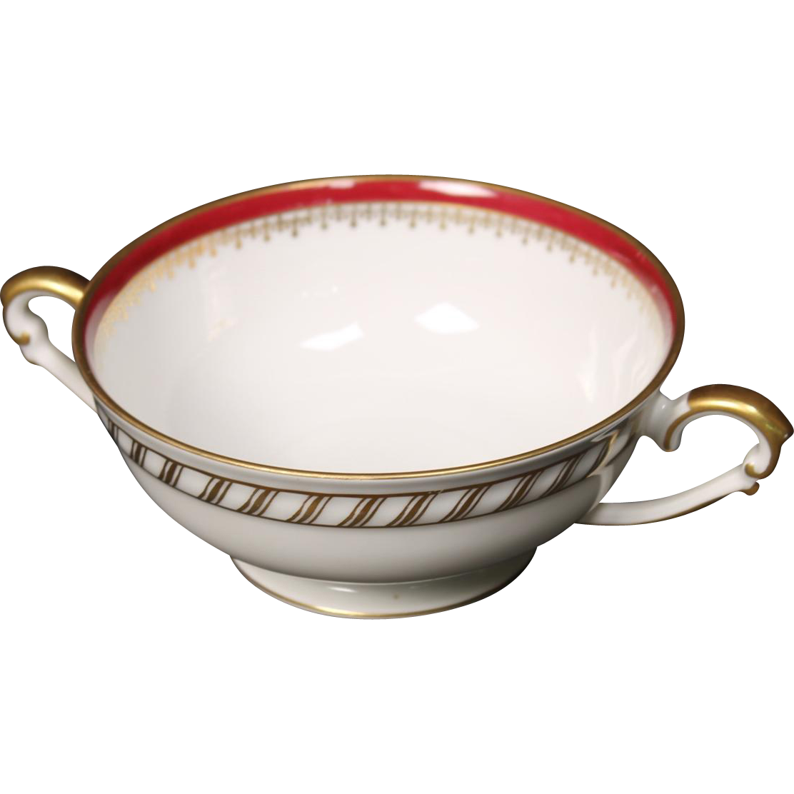 """Cream Soup Bowl by Franconia/Krautheim in the """"Ruby"""" pattern."""
