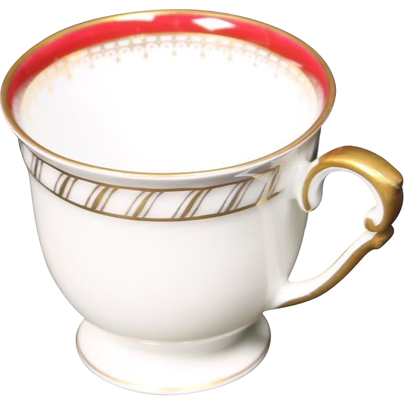 "Demitasse Cup by Franconia/Krautheim in the ""Ruby"" pattern."