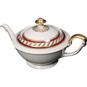 "Lidded Tea Pot by Franconia/Krautheim in the ""Ruby"" pattern."