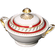"Lidded Sugar Bowl by Franconia/Krautheim in the ""Ruby"" pattern."