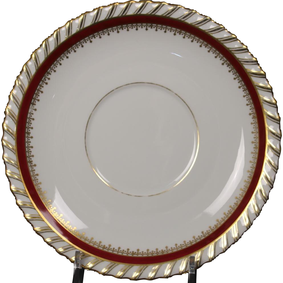 "Cream Soup Saucer by Franconia/Krautheim in the ""Ruby"" pattern."