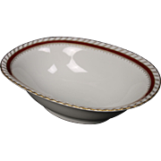 "Oval Serving Bowl by Franconia/Krautheim in the ""Ruby"" pattern."