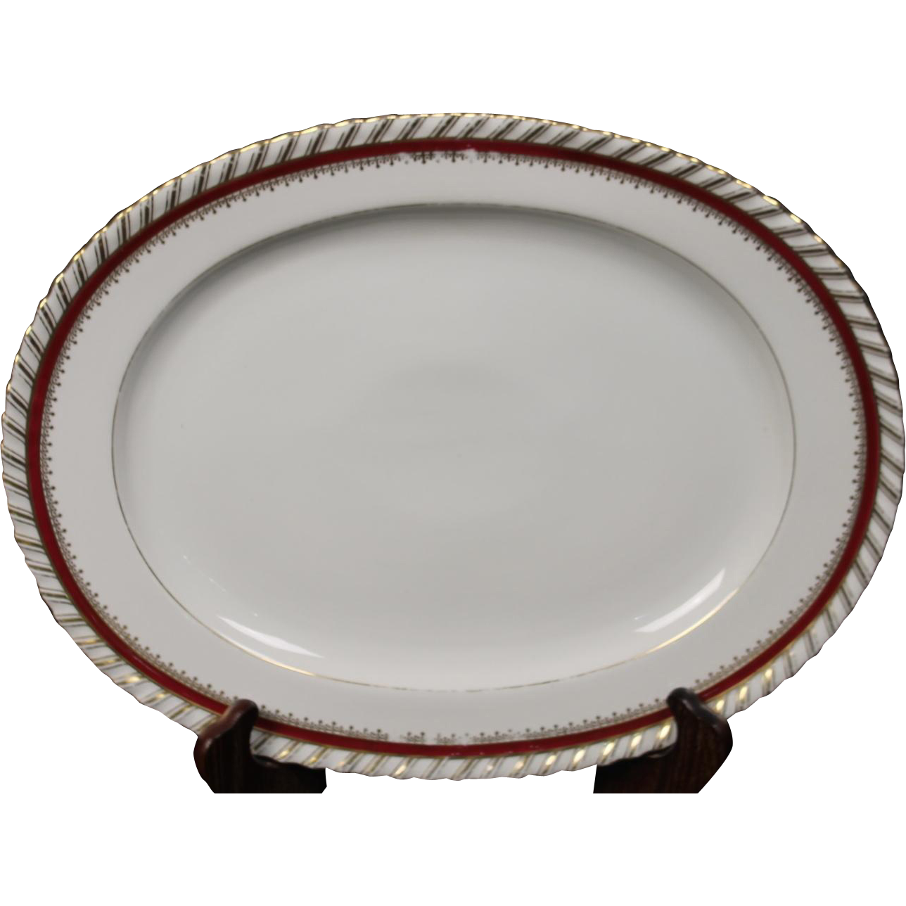 "Oval Platter by Franconia/Krautheim in the ""Ruby"" pattern."