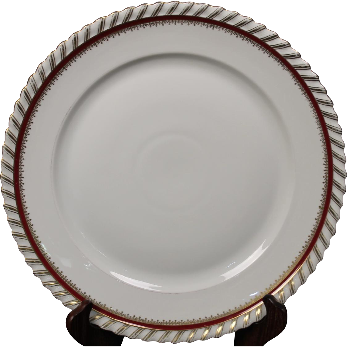 "Round Chop Platter by Franconia/Krautheim in the ""Ruby"" pattern."