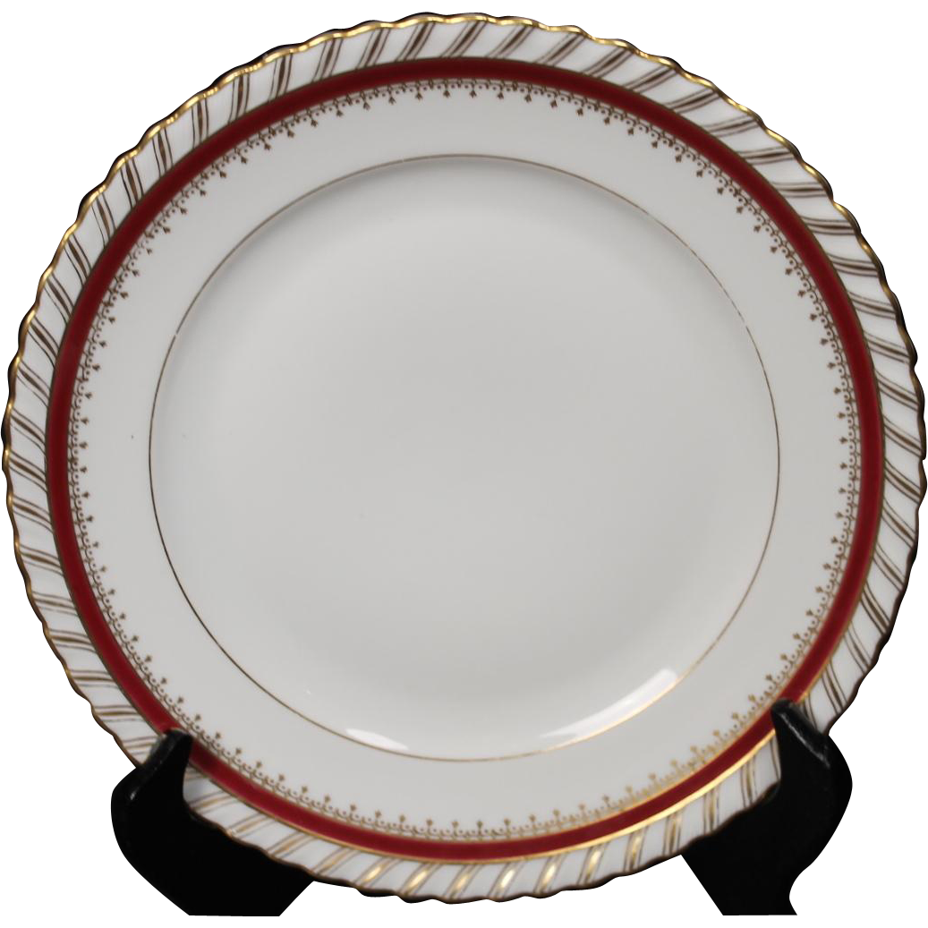 "Salad Plate by Franconia/Krautheim in the ""Ruby"" pattern."