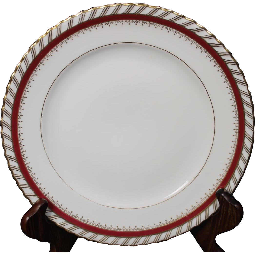 "Luncheon Plate by Franconia/Krautheim in the ""Ruby"" pattern."