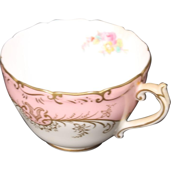 Coalport ''Sandringham Pink'' Footed Cup with Pink Rim, Floral Center and Gold Trim.
