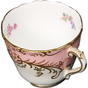Coalport ''Sandringham Pink'' Demitasse Cup with Pink Rim, Floral Center and Gold Trim.