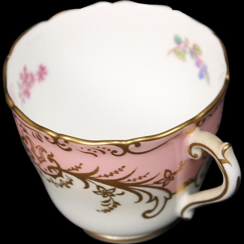 Coalport ''Sandringham Pink'' Demitasse Cup with Pink Rim, Floral Center and Gold Trim.