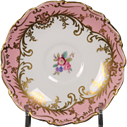Coalport ''Sandringham Pink'' Demitasse Saucer with Pink Rim, Floral Center and Gold Trim.