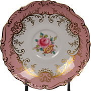 Coalport ''Sandringham Pink'' Saucer with Pink Rim, Floral Center and Gold Trim.