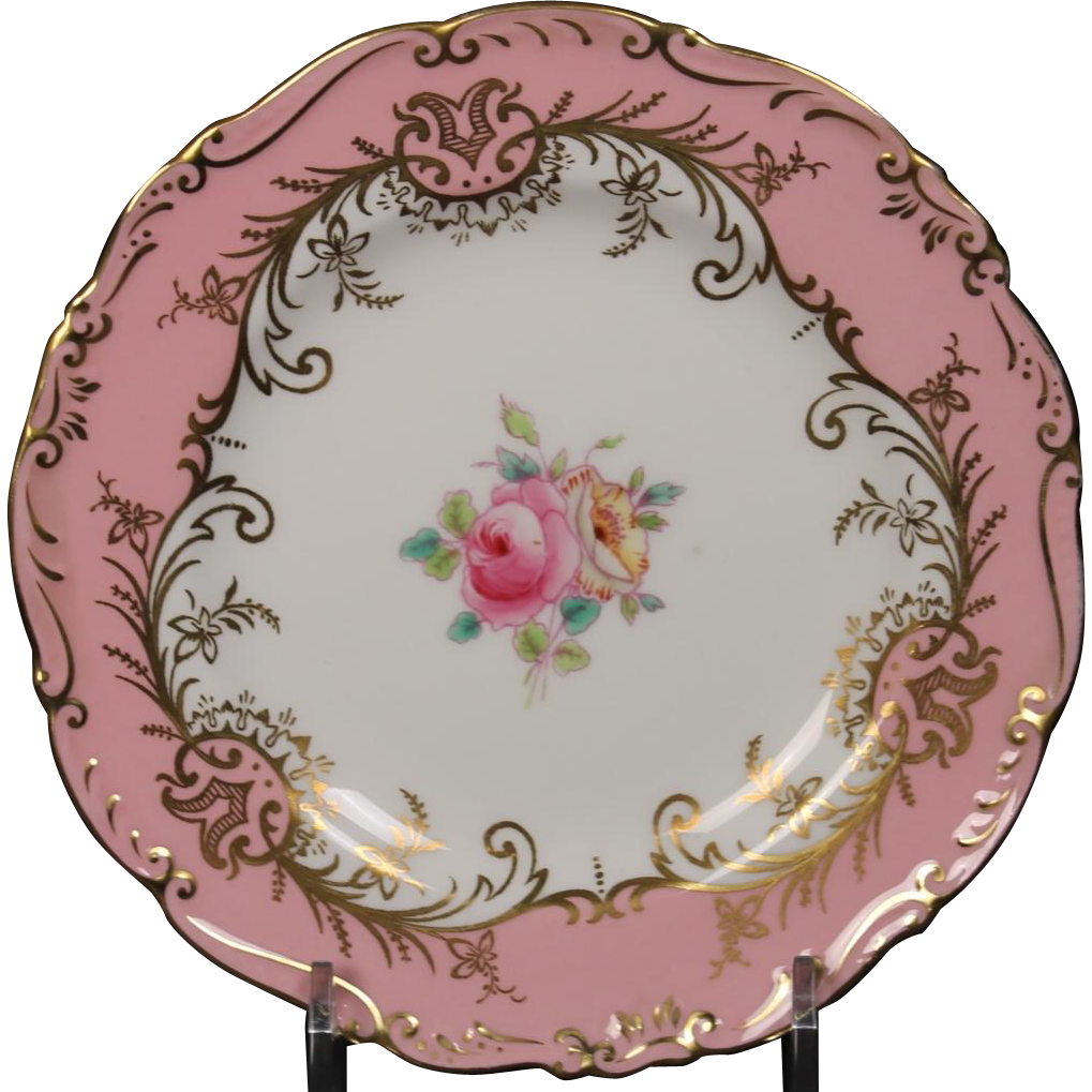 Coalport ''Sandringham Pink'' Bread and Butter Plate with Pink Rim, Floral Center and Gold Trim.