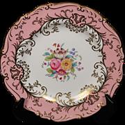 Coalport ''Sandringham Pink'' Salad Plate with Pink Rim, Floral Center and Gold Trim.