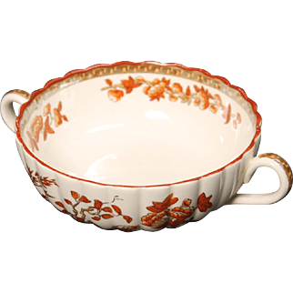 Beautiful English Spode ''India Tree'' Handled Cream Soup by W. T. Copeland.  4-7/8''
