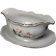 Beautiful Bavaria Germany Gravy Boat with Attached Underplate by Mitterteich, lovely Rose Motif but specific pattern is unknown.