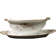 Beautiful Noritake ''Petite Fleur'' Gravy Boat with Attached Underplate