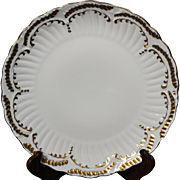 Beautiful Hand Painted Limoges White with Heavy Gold Decorated Dinner Plate from the Lakides Studios and signed by the artist Barbara Zeeman (BZ).