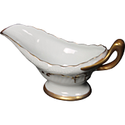 Beautiful Hand Painted Limoges White with Heavy Gold Decorated Gravy Boat believed to be from the Lakides Studios and by the artist Barbara Zeeman but is not signed.