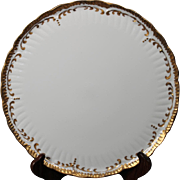 Beautiful Hand Painted Limoges White with Heavy Gold Decorated Round Flat Serving Platter from the Lakides Studios and signed by the artist Barbara Zeeman (BZ).