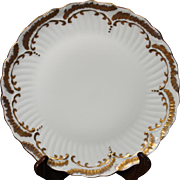 Beautiful Hand Painted Limoges White with Heavy Gold Decorated Round Serving Platter from the Lakides Studios and signed by the artist Barbara Zeeman (B Zeeman).
