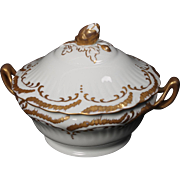 Beautiful Hand Painted Limoges White with Heavy Gold Decorated Lidded Tureen from the Lakides Studios and signed by the artist Barbara Zeeman (BZ).